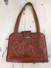 VINTAGE MEXICAN LEATHER PURSE - Aztec, Mont-Abur, Zipper Buckle Strap Handbag