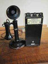 Antique Vintage Grey TelPay Station Hotel Wall Candlestick Pay Phone Railroad