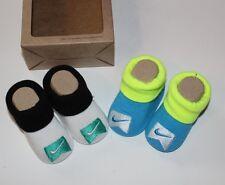 NIKE 2 PAIRS Baby Boy's Crib Shoes Booties Socks 0-6 M NEWBORN NIB