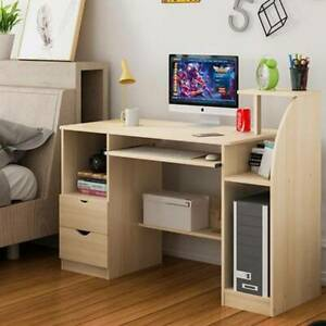 Modern Computer Desk with Drawers Shelf Study PC Table Home Office Workstation