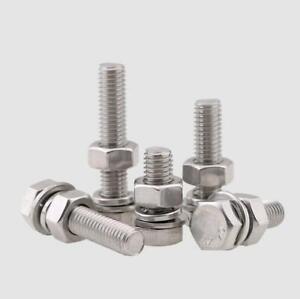M3~M12 304 stainless steel hexagon screw bolt nut flat gasket Spring washer set