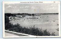*Lake Decatur Illinois Harbor Sailboats Dock Vintage Postcard C76
