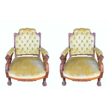 Pair of Pottier and Stymus Winged Griffin Rosewood Armchairs, c. 1870 #7859