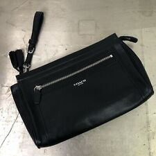 Coach Large Legacy Clutch Tassel Black Leather Silver Hardware EUC