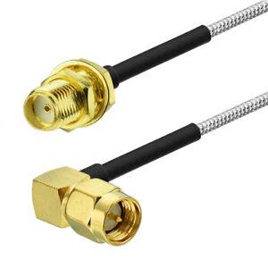 """SMA Female to SMA Male Right Angle .086"""" RG405 Semi Rigid Cable 8cm"""