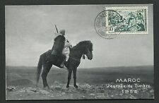 MAROC MK 1954 JOURNEE TIMBRE PFERD HORSE MAXIMUMKARTE MAXIMUM CARD MC CM d6054