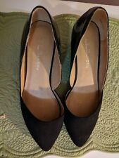 """Ladies Black 2"""" Wedge size 8.5 Patent and faux suede shoes *New w/o box*"""