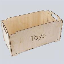 GRANDE scatola in legno Crate 43x23x23cm Stoccaggio Giocattoli Cassa Baule DECOUPAGE giocattolo artigianale