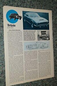 ★1972 ASTON MARTIN V8 / VANTAGE ORIGINAL FIRST LOOK ARTICLE SPECS INFO 72