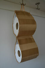Fabric Toilet Rolls Holder GOLD at the wall for 2 rolls/ handmade .
