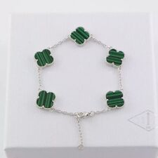 Bracelet Five Lucky Clover Silver Stainless Steel Malachite Green 13mm TRB1