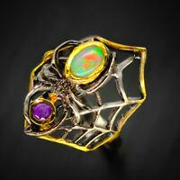 Vintage Opal Ring Natural gemstone Opal 925 Sterling Silver Ring / RVS61