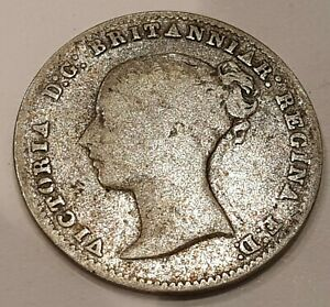 1859 Young Head Victoria Three Pence Silver Coin L1