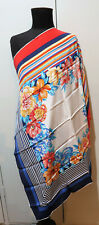 **86cm Square Ostinelli Red, White & Blue Floral Silk Scarf