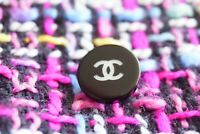 Chanel button  1 pieces metal Logo CC size 13  mm 0,6 inch  plastic black&white