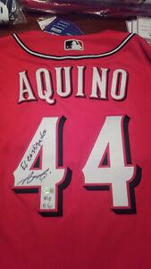 "Cincinnati Reds Aristides Aquino signed Red Authentic Jersey ""El Castigador"" ins"
