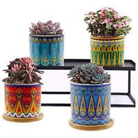 "3"" Mandala Style Succulent Plant Pots, with Drainage Hole and Bamboo Trays, 4Pcs"