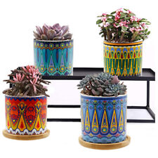 "3"" Mandala Style Succulent Plant Pots, with Drainage Hole and Bamboo Trays, 4Pcs"