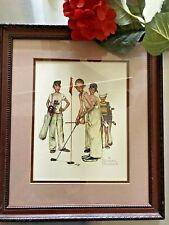 "Vintage Print Norman Rockwell ""Missed"" Boys Golfing in Frame - 12.5 x 14.5"
