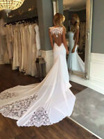White Ivory Sexy Satin Mermaid Off the Shoulder Train Wedding Dress Bridal Gown