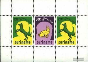 Surinam Bloque 20 (compl.edición) nuevo con goma original 1977 mascotas