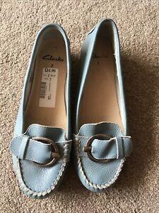 Clarks Ladies Shoes Size 7 Leather Ballet Pumps Smart Casual Blue Worn Once