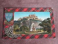 1919 fr Scottish Tartan border postcard -Clan Fraser - Edinburgh Castle