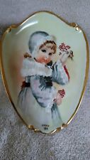 """8"""" by 5-1/2"""" Gold Gilded Hanging Plate W/Picture of Young Girl with winter Coat"""