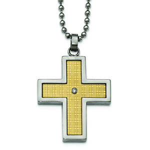 """Chisel Stainless Steel w/18k Polished Textured Diamond Cross Necklace 24"""""""