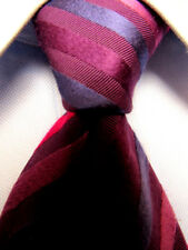 Mens Thomas Pink Red Striped Silk 45% Cotton Tie Made in England A3526