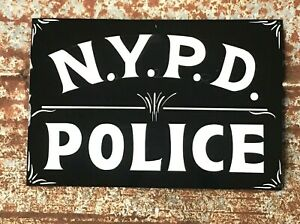 Vintage Painted NYPD POLICE STATION Department Sign New York Law Highway Patrol