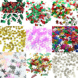 Christmas Party Table Confetti Metallic Snow, Stars, Gifts, Reindeer, Trees etc