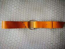 Wide Leather Belt Yellow Silver Buckle  Vintage 80s 1980s New Wave Retro