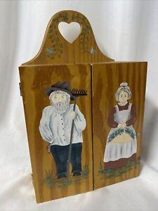 "Vtg Wooden Hand-painted Curio Cabinet  11.5""x7""x4"" Cottage Core Farmhouse"