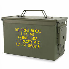 US Army Military M2A1 50 CAL Medium Steel Metal Ammo Tool Storage Box Tin Green