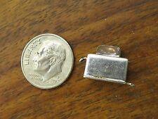 Vintage silver 1950's MOVABLE ENAMEL TOAST TOASTER BRACELET charm