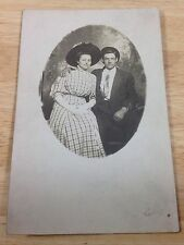 Antique RPPC Studio Oval Portrait Man Woman Couple Real Photo Post Card