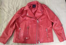 WOMENS LEATHER JACKET MOTO BIKER XL EXTRA LARGE FAUX