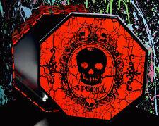 SPOOKY HALLOWEEN OCTAGON SHAPED TIN skull skeleton orange black container box