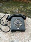 Black bakelite vintage phone, German rotary vintage phone RFT model W-58