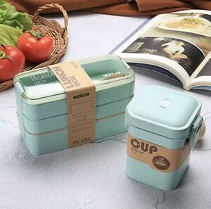 Japanese Lunch Box Bento Box  3-In-1 Compartment Wheat Straw Eco-Friendly