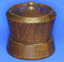More details for antique wooden turned carved tobacco jar, metal lining h:10cm [21539]