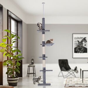 5-Tier Floor To Ceiling Cat Tree Kitty Activity Center Scratching Post 230-260cm