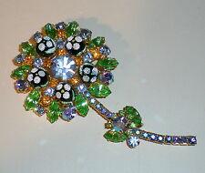 VTG JULIANA BLUE GREEN RHINESTONE SUGAR BEAD POLKA DOT FLOWER BROOCH PIN - (#224