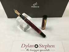 Parker Duofold international maroon marbled fountain pen 18K broad gold nib
