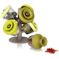 6 CONTAINERS POP UP SPICE RACK HOLDER SET STORAGE TREE ORGANISER RUBBER LIDS