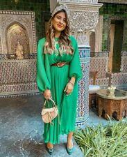 ZARA  GREEN PLEATED DRESS SIZE M/L