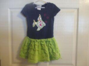 Bonnie Jean Girls Size 5 Navy/Green Dress With Sparkle Fish