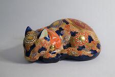 Japanese Kutani Moriage Gilt Sleeping Enameled Porcelain Signed Cat