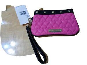 Betsey Johnson Pink Trapezoid Be Mine Fushia Makeup Bag Wristlet NWT